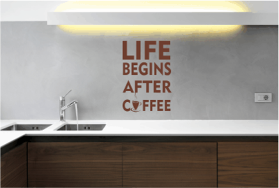 Muursticker life begins after coffee